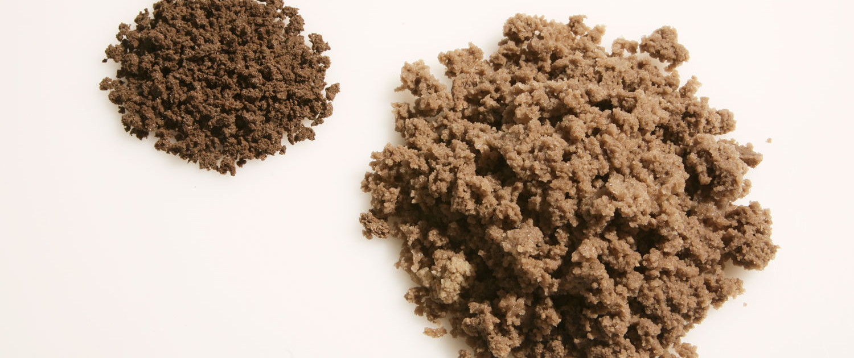 Geohumus Granulat Vergleich gequollen ungequollen